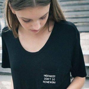 Brandy Melville Mermaids Don't Do Homework Black T-shirt Sz OS